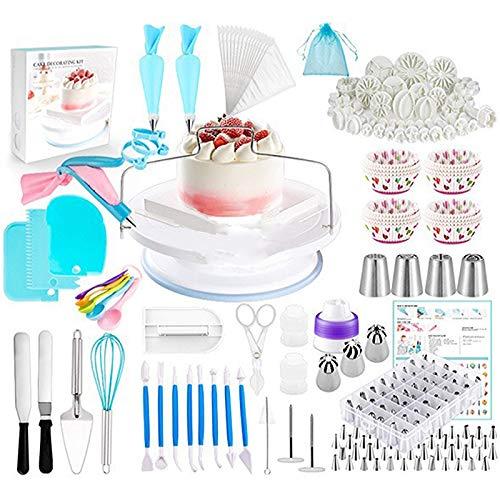 Torten Dekoration Set, 420 Stück Cupcake Decorating Baking Equipment Drehbarer Plattenspieler-Ständer, Zuckerguss-Spatel, Cupcake-Formen, DIY-Backwerkzeuge