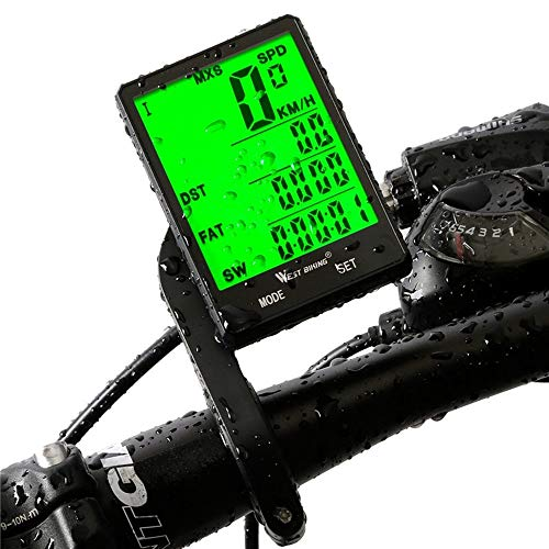 Mix Vogue Bicycle Computer Speedometer, Waterproof Cycling Odometer with Automatic Wake-up LCD Backlight for Outdoor Cycling and Best Gifts for Bikers (Color : Wireless)