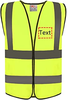 Zojo Custom High Visibility Reflective Safety Vests,Adjustable Size,Wholesale Safety Vest for Outdoor Works, Construction,Cycling, Jogging, Walking,Sports (5 PACK, Neon Yellow)