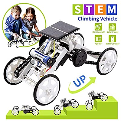 LESES Stem Toys DIY Solar Power 4WD Climbing Vehicle Motor Car Kits for 8-10 Year Old Boys, Educational Building Toys - Science kit Gifts for 9 Years Old Boys and Girls