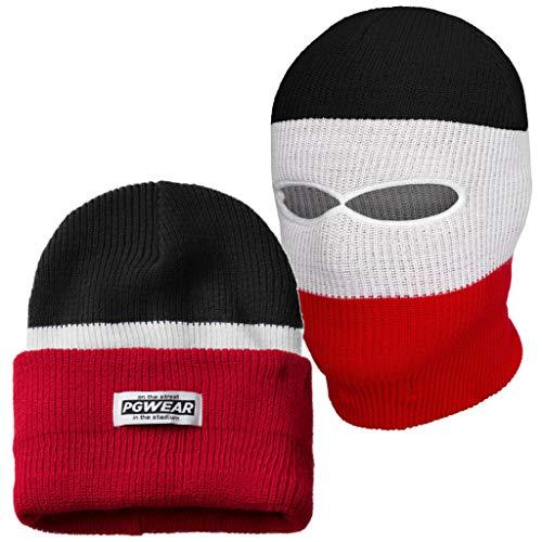 PGwear Mütze und Sturmhaube 2 in 1 schwarz weiß rot blau gelb (Schwarz/Weiß/Rot)