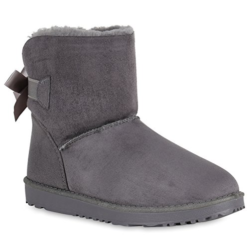 Damen Stiefeletten Schlupfstiefel Warm Gefütterte Stiefel Schuhe 149075 Grau 37 Flandell