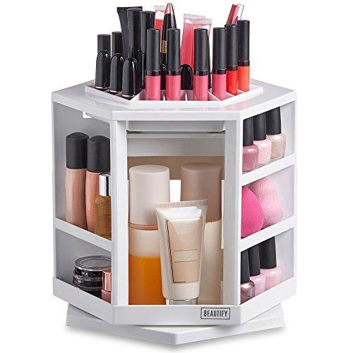 Beautify Organizer girevole a 360° per cosmetici/make-up - Bianco