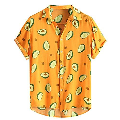 Dcola Camisa De Manga Corta para Hombre Camisa Hawaiana De Moda Estampado De Aguacate Playa Manga Corta Casual Fiesta De Boda Suelta Disfraz De Cumpleaños(M,Brown)