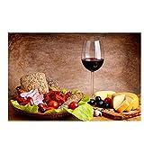 HSFFBHFBH Légumes Fruits Toile Peinture Rouge Verre À Vin Cuisine Alimentaire Affiches et Impressions Mur Photo Salon décorations 40x50 cm (15.7x19.7 Pouces) sans Cadre