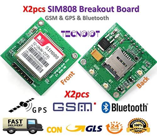 TECNOIOT 2pcs SIM808 Module GSM GPRS GPS Breakout Board SIM808