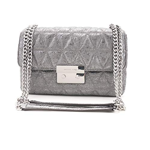 "Genuine quilted leather Adjustable strap can be worn doubled with 13"" drop or single with 24"" drop Snap lock closure; silver tone hardware; exterior back snap pocket Interior features center zip divider compartment; back wall zip pocket; 6 card slots..."