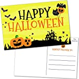 50 Bulk Happy Halloween Postcards - Fun Greeting Cards for Friends, Family and Kids - Cute Pumpkin Jack-o-Lanterns, Bats, Black Cat and Spooky Haunted House Notes