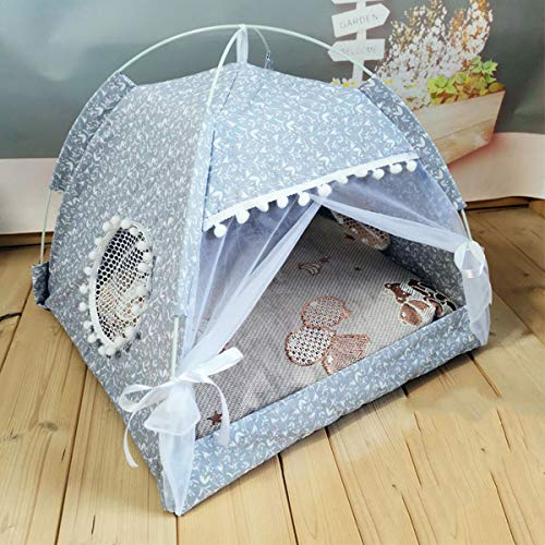 Xpnit Pet Cat Tent House Portable Foldable Puppy Kitten Cave Bed Removable Cushion Pillow Indoor Outdoor Cot with Canopy for Small Dog Cats (Grey)