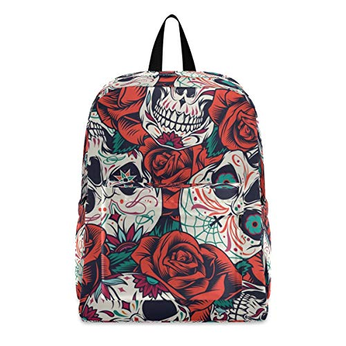 Vintage Day Of Dead Sugar Skulls And Red Roses Fashion School Backpack Lightweight Travel Laptop College Bookbag