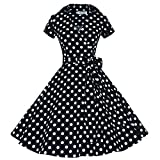 Maggie Tang 50 60s Vintage Swing Rockabilly Party Dress Black with White Dots S
