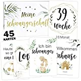 45 Schwangerschaft Meilensteinkarten Tropical Green Milestone Cards Meilenstein Karten Geschenkset + Geschenkbox schöne Geschenkidee zur Geburt, werdende Mutter, Babyparty