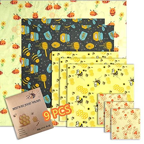 SkingHong Wachspapier für Lebensmittel Bienenwachs Wachstuch 9er-Set - 4 Größe Bienenwachstücher, Nachhaltige und Plastikfreie für Käse Brot, 10/18/26/33cm Quadrat Bienenwachstuch