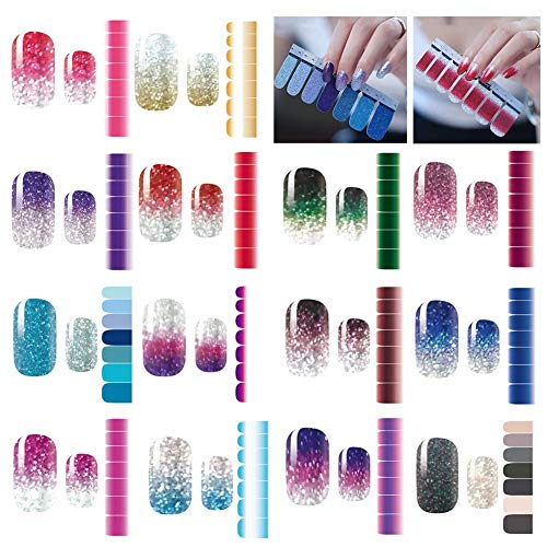 Rubywoo&chili 14 Sheets Glitter Nail Art Sticker, Self-Adhesive Manicure Monochrome Sticker, Beautiful Fashion DIY Decoration