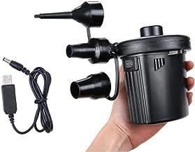 Bomba de aire eléctrica, bomba de aire eléctrica de llenado rápido para camas de aire, inflables, neumáticos para automóviles, tiendas de campaña, piscina, 3 boquillas incluidas, carga USB