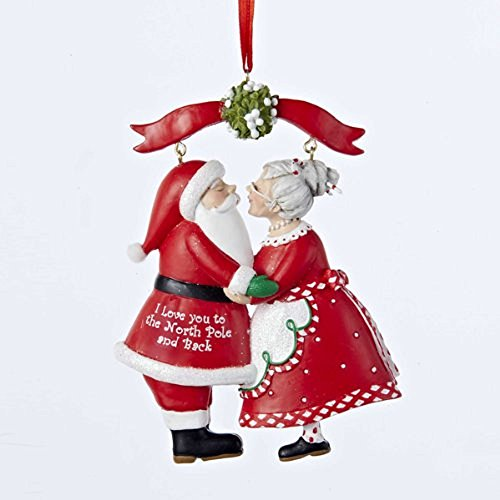 "Kurt Adler 3.75"" Resin mr & Mrs Santa Under Mistletoe Ornament"