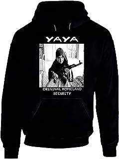 Yaya Original Homeland Security Funny Greek Grandmother with Machine Gun Trending Hoodie. Black