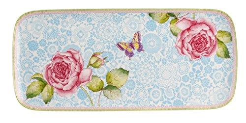 Villeroy & Boch Rose Cottage eckige Kuchenplatte, Servierplatte mit Blumenmotiv im Landhausstil aus Premium Porzellan, spülmaschinenfest, 35x16 cm