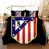 Cubierta De Edredón Y Funda De Almohada Reversible 3D Polyester Comfort Ropa De Cama Regalo Juvenil Giantos De Fútbol, Atlético Madrid, 3pcs 135x200cm