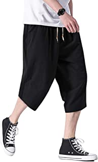 TOTNMC Men`s Baggy Linen Capri Pants Casual Yoga Patchowork Shorts with Deep Pockets