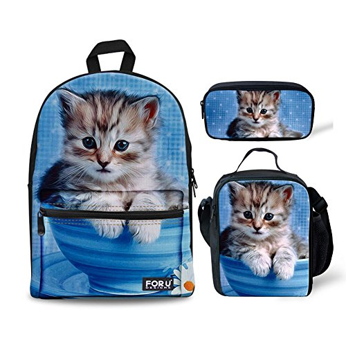 FOR U DESIGNS Kitten Cat Teens Backpack Set Canvas Girls School Bags Bookbags 3 in 1