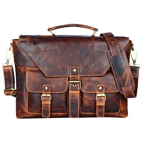 STILORD 'Janus' heren schoudertas leder vintage businesstas voor DIN A4 documenten 13,3 inch laptops MacBooks grote handtas gemaakt van echt leder, Kleur:kara - cognac