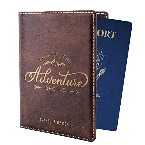 Personalized Passport Holder w Name and Quote - Custom Engraved Leather Passport Cover for Women and Men - Christmas Gifts for Travelers, Christmas, Honeymoon, Travel Gifts   Adventure Begins