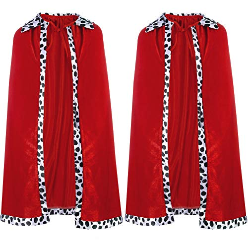 2 Pieces Child King or Queen Robe Red Cloak Cape for Kids Halloween Costume Stage Party Accessories