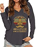 JiaMa Women's I'm Mostly Peace Love and Light Yoga Long Sleeve V Neck Casual Loose Tshirts Hoody Tops Dark Grey, Large