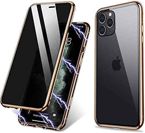 iPhone X,iPhone Xs Case,ZHIKE Anti-Peep Magnetic Adsorption Case Front and Back Tempered Glass Full Screen Coverage One-Piece Design Flip Privacy Cover for Apple iPhone X/XS(Anti Spy-Clear Golden)