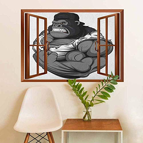 Cartoon Removable Decals Image of Big Gorilla Like as Professional Athlete Bodybuilding Gym
