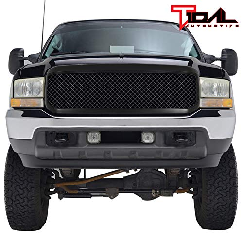 Tidal Replacement F250 Grille Mesh Front Black ABS Upper Grill for 99-04 F250/F350/F450 Super Duty