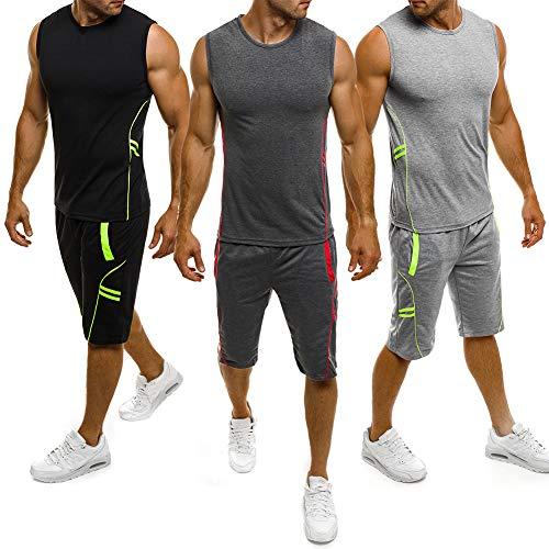 Herren Gym Outfit Set ärmellose Slim Fit Weste Tank Tops elastische Taille Taschen Shorts Training Stringers Bodybuilding Fitness Sport Kleidung Set (L, dunkelgrau)