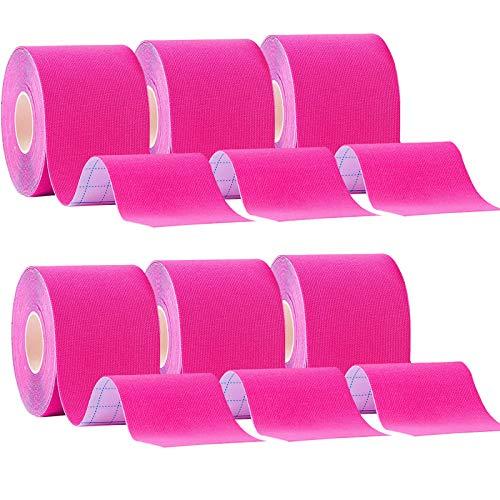 CHOIMOKU 6巻入 ピンク 5cm x 5m テーピングテープ キネシオ テープ 筋肉・関節をサポート キネシオロジーテープ 伸縮性強い 汗に強い スポーツ レギュラー