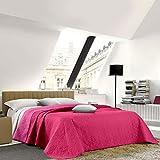 NuvolaNera Trapuntino copriletto bicolor trapuntato a caldo con colori brillanti – Primaverile Estivo – 2 Piazze Matrimoniale 250x250 cm Fuxia/Rosa