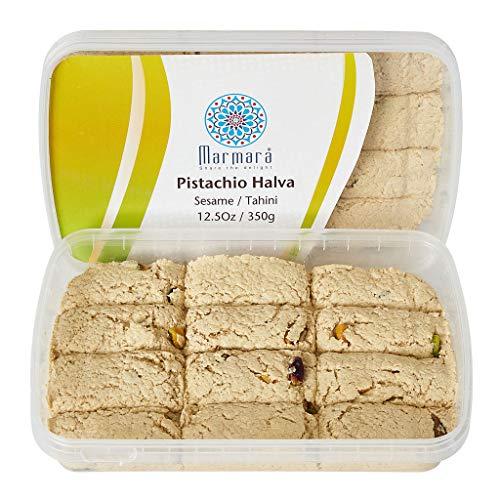 Marmara Pistachio Halva Tahini Gourmet Sesame Sweet Desert Snack Spread All Natural Vegetarian Gluten Free Bars 350 Grams