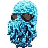 Bear boys Octopus Beanie Hat For Men Winter Warm Skiing Biking Costume Squid Mask (Blue)