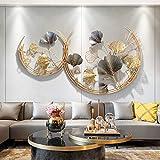 Anjur Ginkgo Leaf Wanddeko Metall Wanddekoration, 3D Hängende Skulptur Dekorationen für Home Office Wohnzimmer Schlafzimmer, 110×67cm