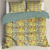 HELLOLEON - Juego de 3 fundas de edredón y 2 fundas de almohada, color gris y amarillo