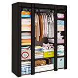 Trintion Fabric Canvas Wardrobe 128 * 45 * 173cm with Clothes Hanging Rail Shelves Storage Cupboard Unit for Living Room Bedroom (Black)