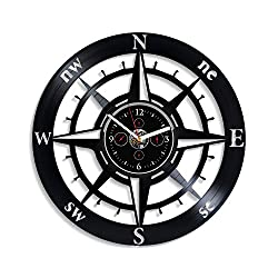 HandmadeCorp Compass Wall Clock Vintage Vinyl Record Retro Wall Clock Compass Art World Wall Clock 12 Inch for Boyfriend Birthday Gift Gift for Husband New Year Gift Compass LP Clock
