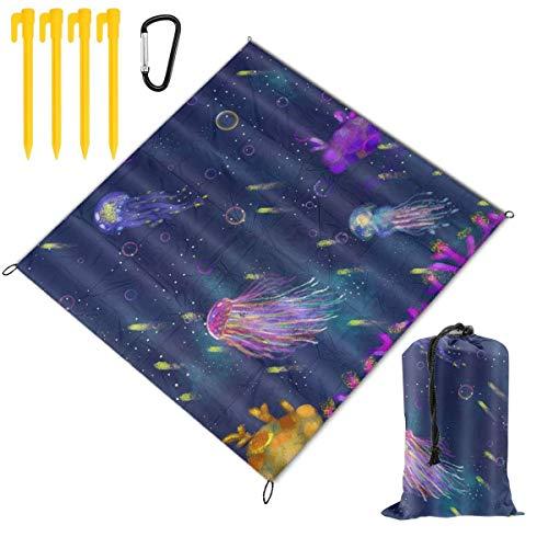 VORMOR Manta de Picnic 145x150cm,Acuarela Medusa Estilo de Pintura Alga Medusa Colorida con Imagen de Burbuja Sea Life,Mantas de Playa al Aire Libre Impermeable Impermeable Estera para Acampada