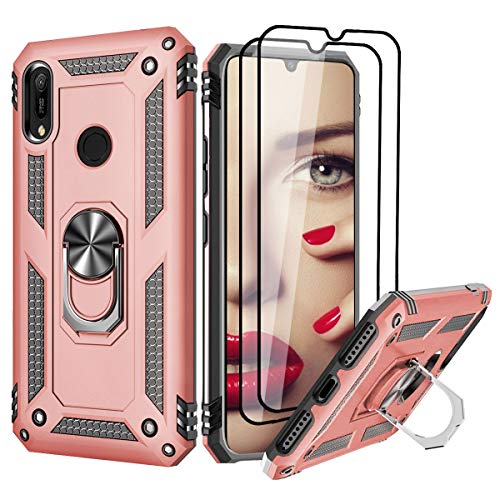 For Huawei Y6 Case 2019 - [2 Packs Screen Protector] For Huawei Y6 2019 Phone Case for Women Girls Ring Holder Kickstand Protective Silicone TPU Personalised Shockproof Tough Armour Cover (Rose Gold)