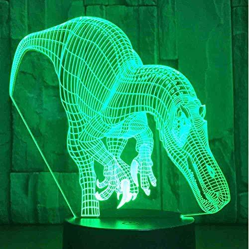 Carcharodontosaurus 3D-nachtlampje dino-nachtlampje met 7 kleuren voor thuisdecoratie, optische visualisatie.