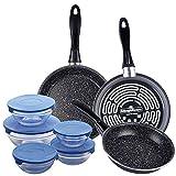 Magefesa K2 GRANSASSO set de 3 sartenes redondas de Ø18/20 y 24, en acero esmaltado vitrificado, en gris, inducción y lavavajillas, y juego de 10 piezas: 5 boles de vidrio + sus 5 tapas en azul