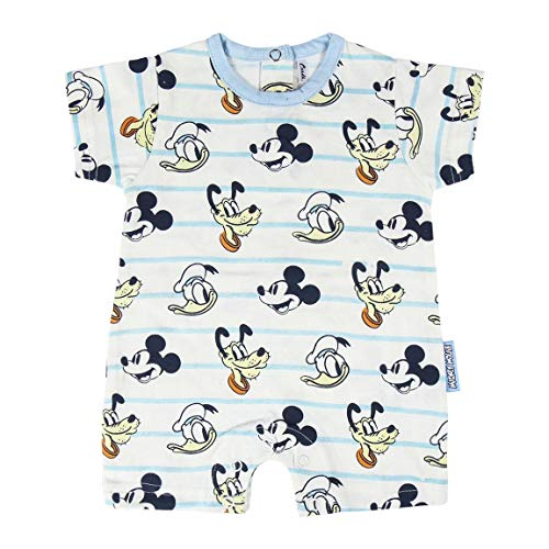 Cerdá Pelele Niño de Disney-Mickey Mouse, Donald y Pluto Juego de Pijama, Blanco, 1 Mes para Bebés