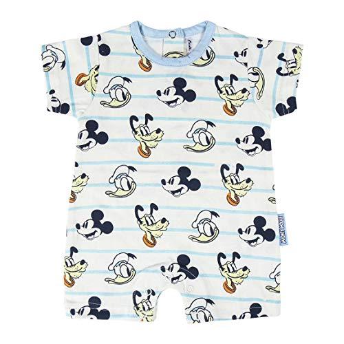 Cerdá Pelele Niño de Disney-Mickey Mouse, Donald y Pluto Juego de Pijama, Blanco, 3 Meses para Bebés