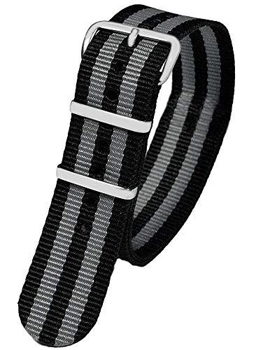 Pacific Time First Wechsel Armband Durchzugsband Uhrenarmband Ersatz Band Textil Dornschließe Sport schwarz grau gestreift 10041