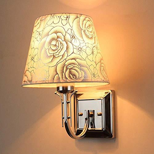 Elegantes modernes Design Chrom Wandleuchte mit Blumenmuster Stoff Lampenschirm für Schlafzimmer Wohnzimmer Esszimmer Flur (kaltweißes Licht, Rosenmuster)