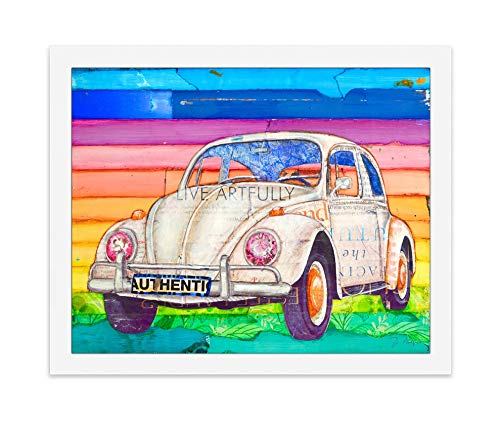 White Vintage Classic Car, Danny Phillips Art Print, Unframed, Retro Coastal Beach Nautical Mixed Media Art Wall and Home Decor Poster, 8x10 Inches